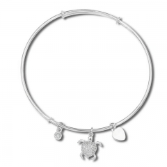Sealife Beach Time Sterling Silver Bling's Out Turtle Bangle Silver Adjustable Bangle