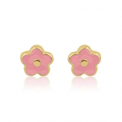 925 Sterling Silver Jewelry Pretty Design Pink Enamel Flower Stud Earrings for Kids