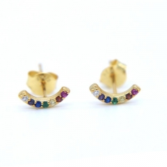 Tiny Curved Bar Stud Earrings with Multi Rainbow Cubic Zirconia for Girls