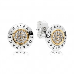 Two Tone Plated Sterling Silver 18K Gold Round Signature Stud Earrings 296230CZ