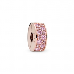 Abstract Pave ALE S925 Silver Pink Shining Clip Charm with Pink Cubic Zirconia 781817PCZ