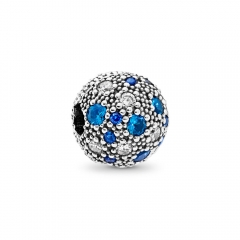 Abstract Pave ALE S925 Silver Blue Cosmic Stars Charm Charm Clip with Cubic Zirconia 791286NSBMX