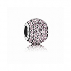 Abstract Pave ALE S925 Silver Ball Charm with Pink Cubic Zirconia 791051PCZ