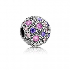 Abstract Pave ALE S925 Silver Ball Clip with Multi Colored Cubic Zirconia 791286CFPMX