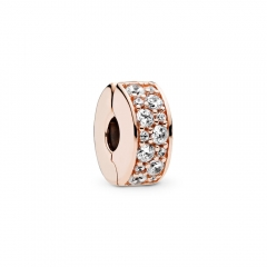 Abstract Pave ALE S925 Silver Pink Shining Clip Charm with Clear Cubic Zirconia 781817CZ