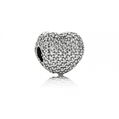S925 ALE Sterling Silver Micro Pave Love Clear Cubic Zirconia Open My Heart Clip 791427CZ