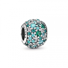 Fancy Pave ALE S925 Silver Bead Charm with Mixed Shades of Green Cubic Zirconia and Green Crystal 791261MCZMX