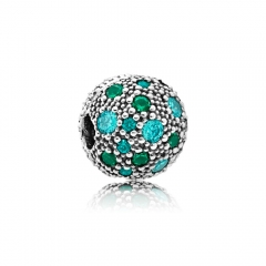 Abstract Pave ALE S925 Silver Green Cosmic Stars Charm Clip with Cubic Zirconia 791286MCZMX