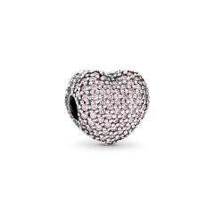 S925 ALE Sterling Silver Micro Pave Love Pink Cubic Zirconia Open My Heart Clip 791427PCZ