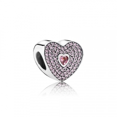 S925 ALE Sterling Silver Pave Pink Cubic Zirconia I Love You Sweet Heart Charm 791555CZS