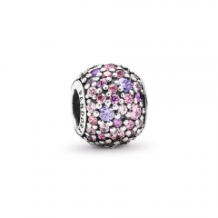 Fancy Pave ALE S925 Silver Bead Charm with Mixed Shades of Pink and Purple Cubic Zirconia 791261ACZMX