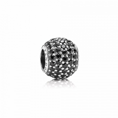 Abstract Pave ALE S925 Silver Ball Charm with Black Cubic Zirconia 791051NCK