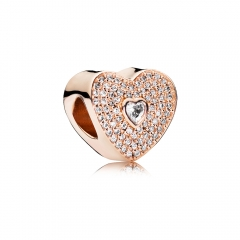 S925 ALE Sterling Silver Pave I Love You Heart Rose Charm with Clear Cubic Zirconia 781555CZ