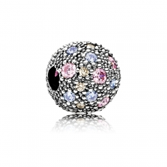 Abstract Pave ALE S925 Silver Ball Clip with Multi Colored Cubic Zirconia 791286PCZMX