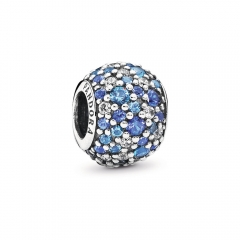 Fancy Pave ALE S925 Silver Bead Charm with Mixed Shades of Blue Crystal and Clear Cubic Zirconia 791261NSBMX