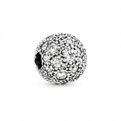 Abstract Pave ALE S925 Silver Ball Clip with Clear Cubic Zirconia 791286CZ