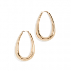 High Polish 14K Yellow Gold Large Women's Bold & Beautiful Hoop Earrings in Steel