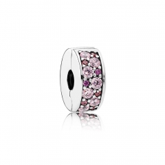 Abstract Pave ALE S925 Silver Clip Charm with Purple Mosaic Shining Cubic Zirconia 791817CZSMX