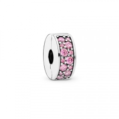 Abstract Pave ALE S925 Silver Honeysuckle Pink Shining Spacer Clip with Cubic Zirconia 791817PCZ