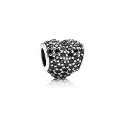 Customzied Jewelry S925 ALE Heart Pave Sterling Silver Charm with Black Cubic Zirconia 791052NCK