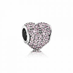 Customzied Jewelry S925 ALE Heart Pave Sterling Silver Charm with Pink Cubic Zirconia 791052PCZ