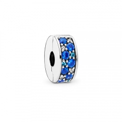 Abstract Pave ALE S925 Silver Blue Mosaic Shining Spacer Clip with Cubic Zirconia 791817NSBMX