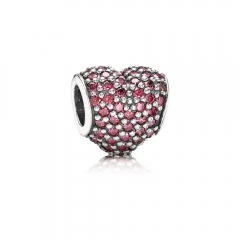 Customzied Jewelry S925 ALE Heart Pave Sterling Silver Charm with Ruby Cubic Zirconia 791052CZR