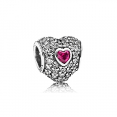 S925 Sterling Silver Clear Cubic Zirconia the Official British Heart Foundation Read Pave Heart Charm 791168SRU