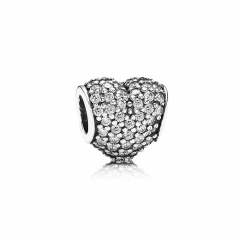 Customzied Jewelry S925 ALE Heart Pave Sterling Silver Charm with Clear Cubic Zirconia 791052CZ