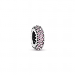 S925 ALE Abstract Sterling Silver Spacer Charm with Pink Cubic Zirconia 791359PCZ