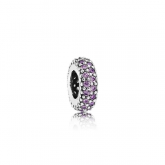 S925 ALE Abstract Sterling Silver Spacer Charm with Amethyst Cubic Zirconia 791359CFP