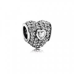 S925 Sterling Silver Clear Cubic Zirconia Micro Pave Triple Love Heart Charm 791168CZ