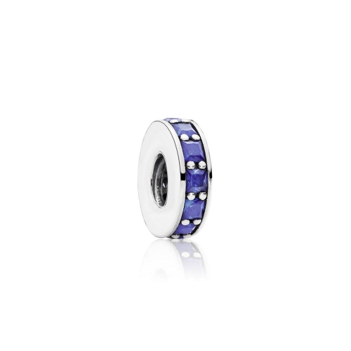 Abstract Pave ALE S925 Sterling Silver Spacer with Opalescent Royal Blue Crystal 791724NCB