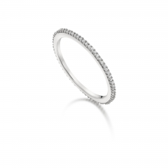 Sterling Silver Two Tone Plated Clear CZ Thin Finger Band Ring