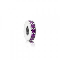 Abstract Pave ALE S925 Sterling Silver Spacer with Royal Purple Crystal 791724NRP