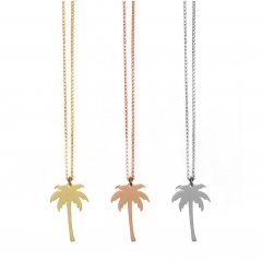 High Polish S925 Sterling Silver Palm Tree Necklace without Cubic Zirconia