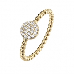 14K Gold Plated Minimalist CZ Simulated Diamond Stacking Circle Stackable Ring