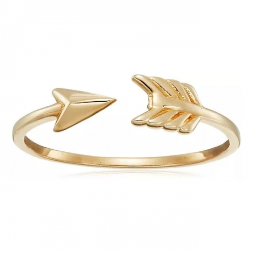 925 Silver Jewelry 14K Gold Plated Arrow Point Ring Design for Women