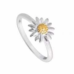 Tow Tone Plated Sterling Silver 18K Gold Plated Daisy Ring