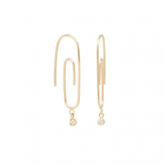 Dainty Jewelry 925 Silver Small Paperclip Dangling Cubic Zirconia Hoops