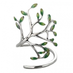 OEM DEsign Innovative Enamel Life Tree Open Ring 925 Sterling Silver Ring