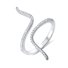 Fashion Rhodium Plated Snake-like Ring with Micropave Cubic Zirconia Promise Rings for Girls
