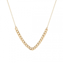 New Arrivals Sterling Silver 14K Gold Medium Curb Chain Station Necklace