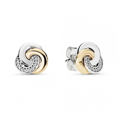 Two Tone Plated Sterling Silver Clear CZ Interlinked Circles Stud Earrings 290741CZ