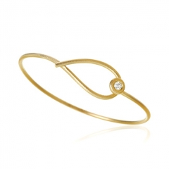 18K Yellow Gold Plated Sterling Silver Armring Kharisma Diamond Armring Bangle