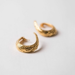 Vintage Jewelry 18K Yellow Gold Swirl Hoops Earrings in 925 Silver