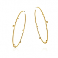 Fashion Vintage 18K Gold Over Large Hoop Large Hoop Earrings Sterling Silver S925