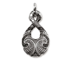 Man Jewelry Thomas Sterling Silver Black Pave CZ Maori Hook Large Pendant for Man PE719-643-11