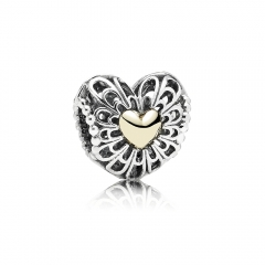 Two Tone Plated Sterling Silver Openwork Vintage Heart Charm 791275