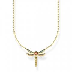 TS Jewelry Sterling Silver 18K Gold Plated Multistone Small Dragonfly Necklace KE1837-974-7-L45V